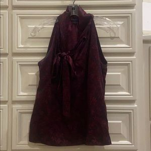 Burgundy sleeveless blouse with bow tie neck
